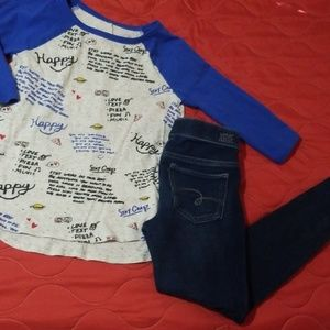 Justice outfit size 8 jeggings and 3/4 sleeve